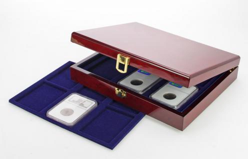 SAFE 5783 Premium WURZELHOLZ Münzkassetten US SLAB 12 mit 2 Tableaus 6373 Für 12 x original zertifizierte US Slab & Everslab & Quicklab Münzkapseln