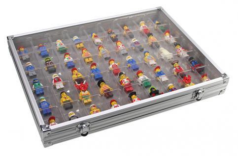 SAFE 5877 ALU Sammelvitrinen Vitrinen Setzkasten mit 45 Fächern bis 49 mm Höhe Ideal für LEGO Minifiguren Star Wars - Hobbit - Classic - Princess - Piraten - Speed usw.