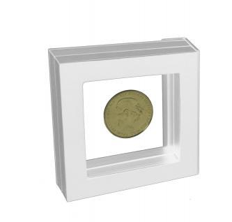 SAFE 4514 SCHWEBE RAHMEN FOTORAHMEN BILDERRAHMEN 3D Weiß Außen 100x 100 mm / Innen 70 x 70x mm Für Münzen & Medaillen
