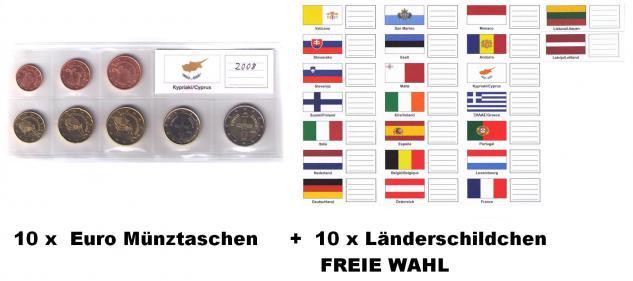 10 KOBRA FE8 + FEL-LAND EURO Münztaschen Versandtaschen Kursmünzensätze KMS + Länderschildchen nach Freier Wahl