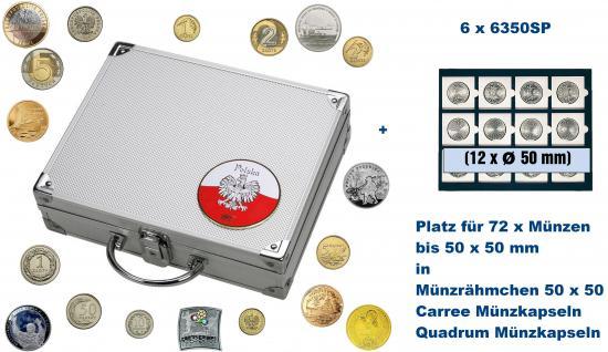 SAFE 244 - 6350 ALU Münzkoffer SMART Polen / Polska mit 6 Tableaus 6350 für 72 - Münzen bis 50 mm & Münzrähmchen Standard & Lindner Octo - Carree & Leuchtturm Quadrum Münzkapseln