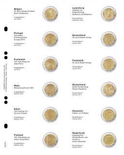 1 x LINDNER MU2E9 Multi Collect Münzhüllen Vordruckblatt 2 Euro Gedenkmünzen Belgien Juni 2012 - Niederlande Februar 2013