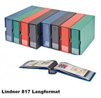 LINDNER 817 - B - Blau FDC - ALBUM im Langformat 240 x 125 mm Für 100 Briefe FDC Postkarten Banknoten