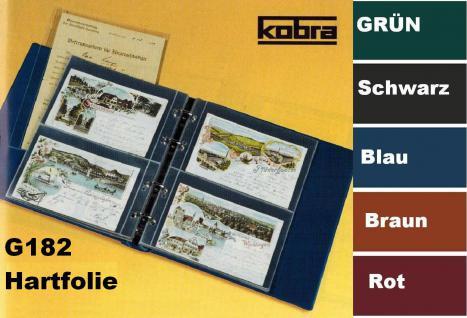 KOBRA G182 Grün Postkartenalbum Sammelalbum + 20 HARTFOLIEN Blättern G182E für 80 Postkarten - Ansichtskarten - Banknoten - Geldscheine