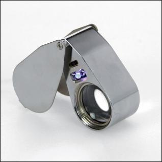 SAFE 4640 Metall Einschlaglupe Lupe Optische-Linse 25 mm 40x fache Vergrößerung + 2x LED + UV Licht + Etui