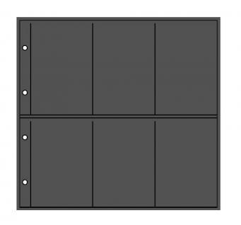 1 x LINDNER 3051 Postkartenblatt XL schwarz 6 Taschen senkrecht 108 x 160 mm Für 12 Postkarten