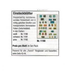 5 x SAFE 1191 Einsteckblätter Favorit Schwarz beidseitig nutzbar 8 Streifen mittig geteilt - Für Briefmarken