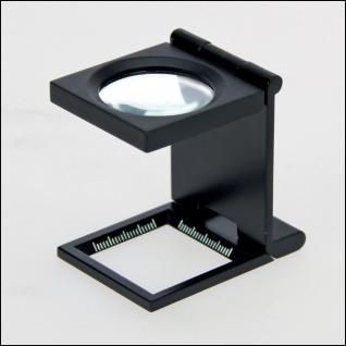 SAFE 4633 Metall Präzisions Standlupe Fadenzähler Lupe Linse 27 mm Meßskalen 10x fache Vergrößerung + Etui