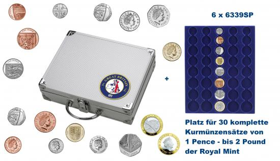 SAFE 246 ALU Länder Münzkoffer SMART Grossbritannien / Great Britain / United Kingdom / England mit 6 Tableaus für 30 kompltte KMS Kursmünzensätze 1 Penny - 2 Pound / Pfund der Royal Mint of England