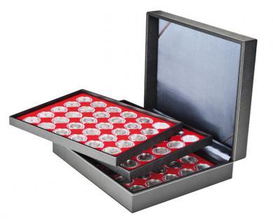LINDNER 2365-2226E Nera XL Münzkassetten mit 3 Einlagen Hellrot Rot für 90 x Münzen bis 39 mm & 10 & 20 Euro DM in Münzkapseln 33 mm