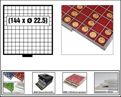 SAFE 6612-1 BEBA MÜNZBOXEN 144 quadratische Fächer 22, 5 mm + rote Filzeinlagen Ideal für 1, 2, 5, 10, 20 Euro Cent & bis Münzkapseln 16, 5 mm