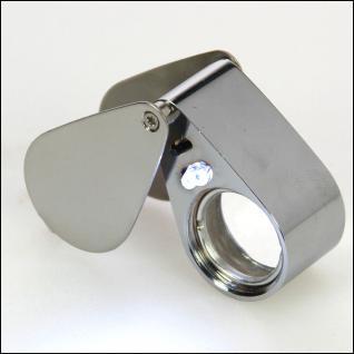 SAFE 4639 Metall Einschlaglupe Lupe Optische-Linse 21 mm 30x fache Vergrößerung Triplet + LED + Etui