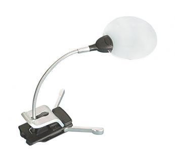 Lindner 7154 Randlose Leuchtlupe Klemmlupe Lupe + LED 2, 5x & 5x fache Vergrößerung Linse 87 mm