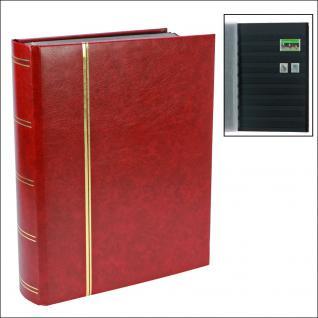 SAFE 154-1 Briefmarken Einsteckbücher Einsteckbuch Einsteckalbum Einsteckalben Album Weinrot - Rot wattiert 60 schwarze Seiten