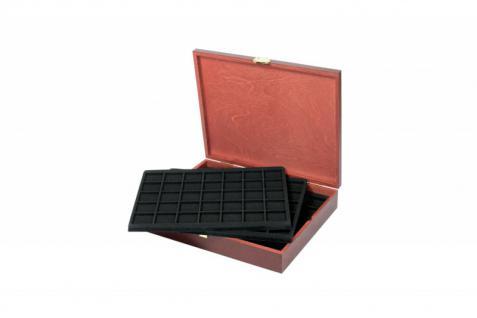LINDNER S2495-S2135CE Echtholz Holz Münzkassetten 5 Tableaus 2135CE für 175 Münzen bis 36 mm - Ideal für 2 Euro in Münzkapseln & 10 & 20 Euro Gedenkmünzen