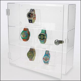 SAFE 5247 Grosse Acrylglas Design Uhrenvitrine 320 x 320 x 110 mm abschließbar Für ca. 12 Uhren