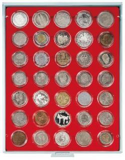 LINDNER 2225 Münzbox Münzboxen Standard Grau 35x 36 mm. 5 DM Gedenkmünzen / 5 CHF in Münzkapseln - Vorschau 1