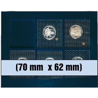1 x SAFE 6370 SP Tableaus Einsätze SMART 6 eckigen Fächern 70 x 62 mm für 5 - 10 DM PP Münzen Gedenkmünzen in Blister Folie