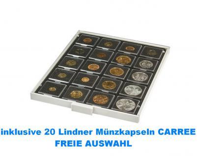 LINDNER 2122C Münzboxen Münzbox Carbo Schwarz 20 x 50 mm + 20 CARREE Münzkapseln FREIE AUSWAHL