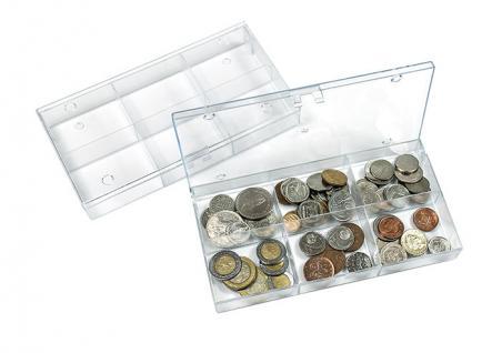 LINDNER 4821 Stapelbare Kunststoff Sammelbox glasklar 195 x 100 x 30 mm mit 6 Fächern 63x48x28 mm für Mineralien Fossilien Münzen Ü Ei Figuren Lego Figuren