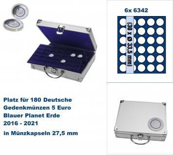 SAFE 236 ALU Länder - Münzkoffer SMART 5 Euro Blauer Planet 2016 - 2021 mit 6 Tableaus 6342 für 180 Gedenkmünzen in Münzkapseln 27, 5