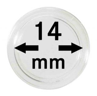 100 LINDNER Münzkapseln / Münzenkapseln Capsules Caps 14 mm 2251014
