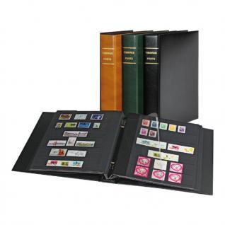Lindner 1170F - H Schraubenringbinder Briefmarkenalbum TIMBRES POSTE Hellbraun Braun + 10 Einsteckblättern schwarz 1171F mit 6 Streifen