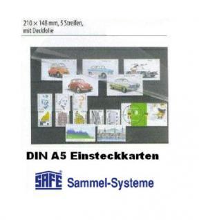 100 x SAFE 7030 DIN A5 Einsteckkarten Steckkarten Klemmkarten 5 Streifen + Schutzfolie für Briefmarken Banknoten Briefe Postkarten Fotos