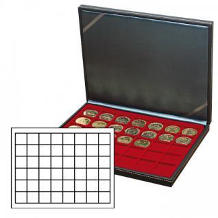 LINDNER 2364-2748E Nera M Münzkassetten Einlage Dunkelrot Rot 48 Fächer für Münzen bis 30 x 30 mm - 5 DM Euro Mark DDR