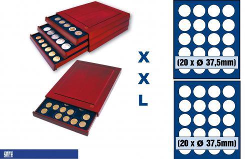 SAFE 6837 XXL Nova Exquisite Holz Münzboxen mit 2 Tableaus 6337 und 40 Runde Fächer 37, 5mm Für 10 20 Euro in Münzkapseln 32, 5 PP