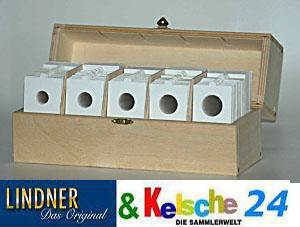 Hartberger Box Nr. 8324 mit 500 selbstklebenden Münzrähmchen mixed je 100 Stück 17, 5 , 20 , 22, 5 , 25, 0 27, 5 mm