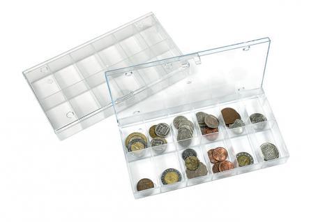 LINDNER 4822 Stapelbare Kunststoff Sammelbox glasklar 195 x 100 x 30 mm mit 12 Fächern 31x48x28 mm für Mineralien Fossilien Münzen Ü Ei Figuren Lego Figuren
