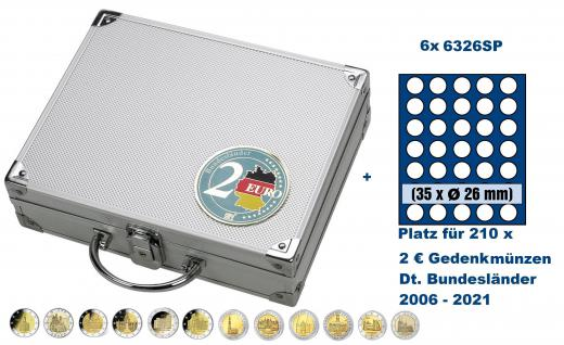 SAFE 249 ALU Länder - Münzkoffer SMART 2 Euro Deutsche Bundesländer 2006 - 2021 mit 6 Tableaus 6326 für 210 - 2 Euromünzen Gedenkmünzen