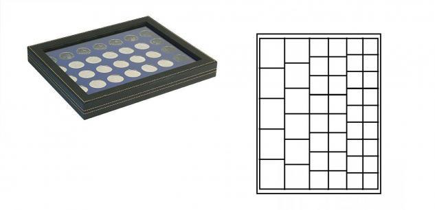 LINDNER 2367-2145ME Nera M PLUS Münzkassetten Marine Blau mit glasklarem Sichtfenster Mixed für 45 x Münzen - 24, 28, 39, 44 mm die Starter Box