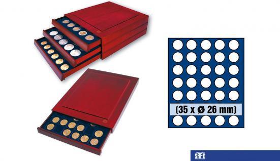 SAFE 6826 Nova Exquisite Holz Münzboxen Schubladenelement 35 Runde Fächer x 26 mm Ideal für 2 EURO