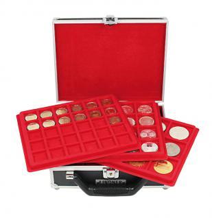 LINDNER 2328 Kleiner MÜNZKOFFER im schwarzen Alu Design + 6 Tableaus Mixed für 124 Münzen