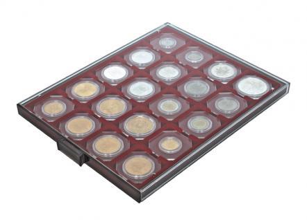 LINDNER 2722 Münzboxen Münzbox Rauchglas 20 x 50 mm Münzen Octos Carree Quadrum Münzkapseln Münzrähmchen