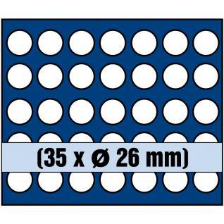 1 x SAFE 6326 SP Tableaus / Einsätze SMART mit 35 runden Fächern 26 mm ideal für 2 Euro Münzen