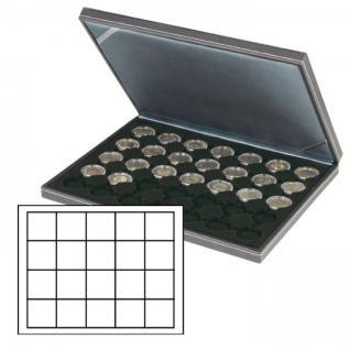 LINDNER 2364-2124CE Nera M Münzkassetten Einlage Carbo Schwarz 20 Fächer für Münzen bis 41 x 41 mm für 1 US Silver Eagle Dollar