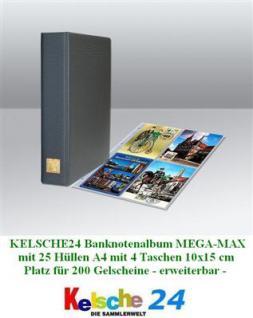 Kelsche Banknotenalbum MEGA + 25 Hüllen bis 200 Kar