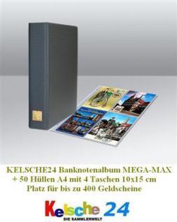 Kelsche 4880 Banknotenalbum MEGA + 50 Hüllen 5471 bis 400 Banknoten