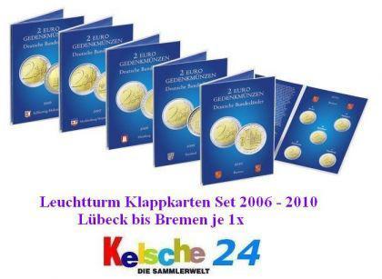 5 x LEUCHTTURM Sammelkarten 2 EURO Bundesländer Lübeck Schwerin Hamburg Saarbrücken Bremen 2006-2010