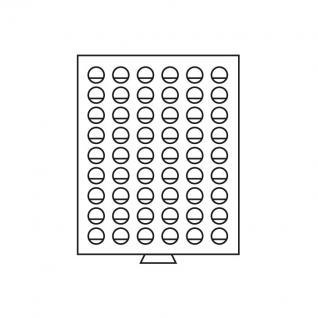 Leuchtturm 335426 Münzboxen Münzbox 54 runde Fächer 25,75 mm für 2 Euro Münzen MBG54R/25 Grau