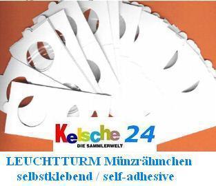 25 Leuchtturm Münzrähmchen selbstklebend Sortiment für Euromünzen 309760 - Vorschau