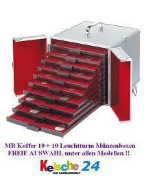 Leuchtturm Set Münzbox Koffer CARGO MB 10 - 309030 + gefüllt mit 10 Leuchtturm Münzboxen Freie Auswahl