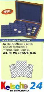 LEUCHTTURM Münzkassette VOLTERRA TRIO 105 2 EURO in Münzkapseln 309303