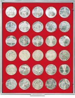LINDNER 2101 MÜNZBOXEN Münzbox Standard für 30 Münzen 36 mm Ø 5 Reichsmark 100 ÖS 50 ÖS Schilling