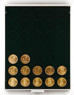 Lindner 2111C Münzbox Münzboxen Carbo Schwarz für 35 x 32, 5 mm Ø 10 & 20 Euromünzen 10 DM 200 Euro Gold - Vorschau