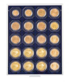 LINDNER 2122M Münzboxen Münzbox Marine Blau 20 x 50 mm Münzen Octos Carree Quadrum Münzkapseln Münzrähmchen