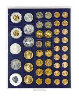 Lindner 2145M Münzbox Münzbox Marine Blau 45 quadratische Vertiefungen 24 - 28 - 39 - 44 mm Münzen